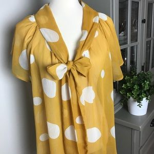 West Kei Yellow Polka Dot Blouse with Tie